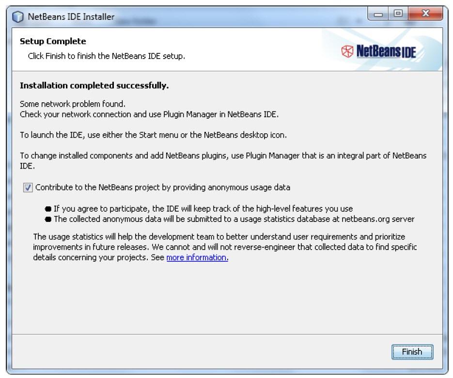 پایان نصب NetBeans