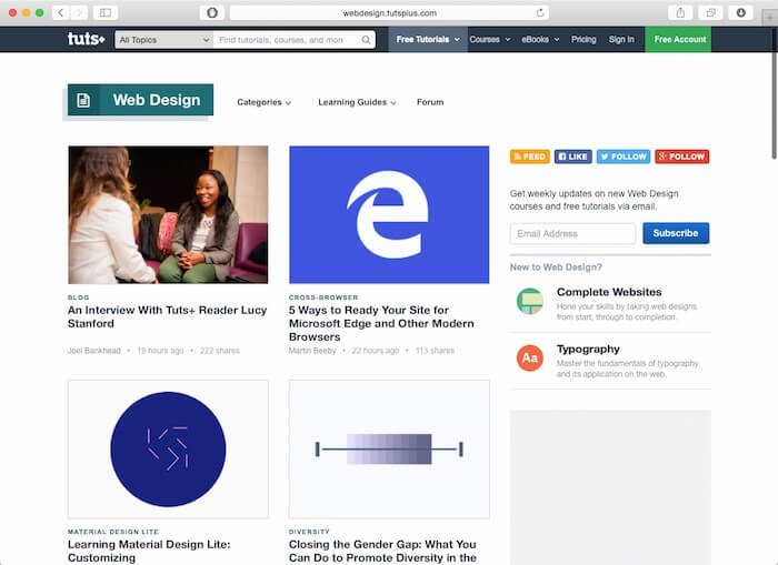 آموزش طراحی وب با سایت tutsplus