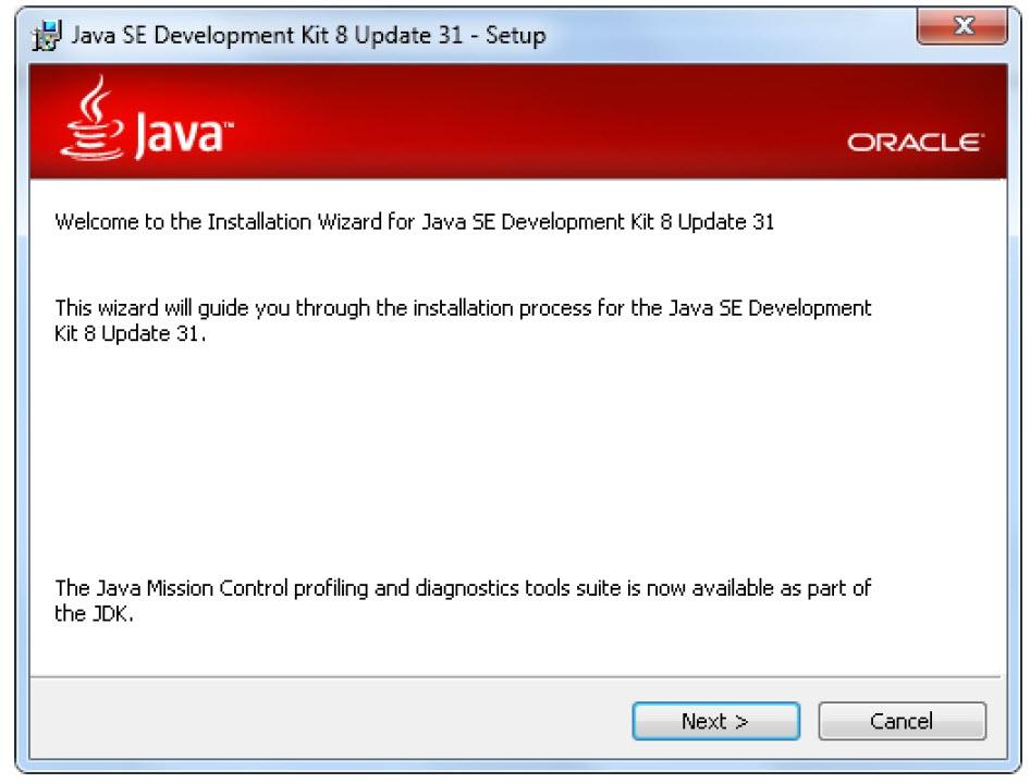 صفحه خوش آمد گویی نصب JDK در ویندوز 10