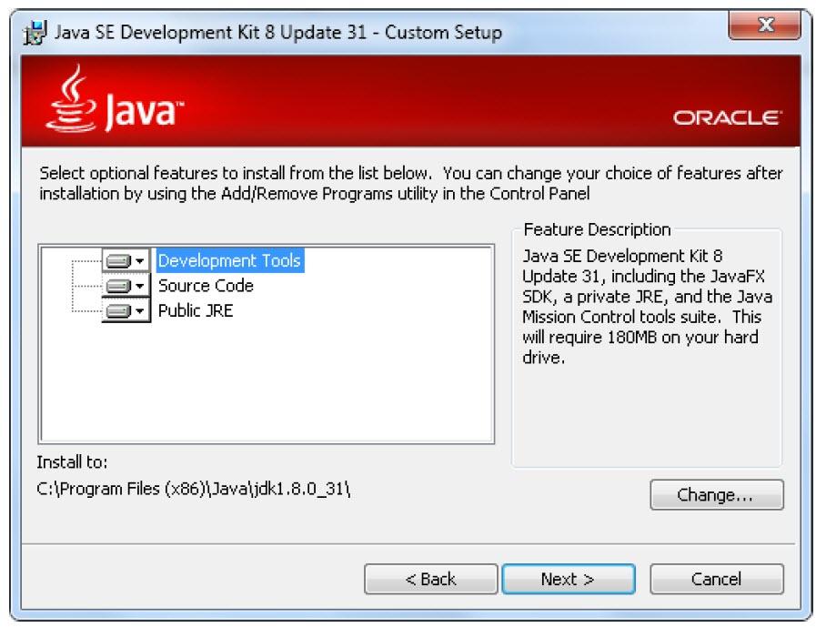 پنجره ابزارهای نصب JDK در ویندوز 10