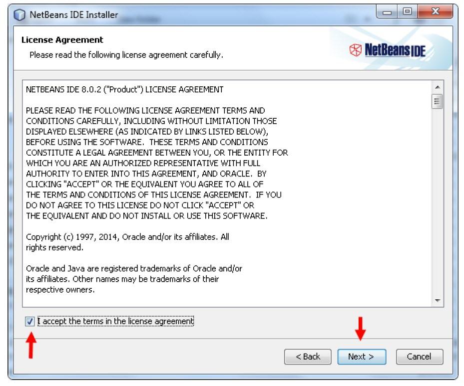 پنجره قوانین و مقررات نصب NetBeans در ویندوز 10