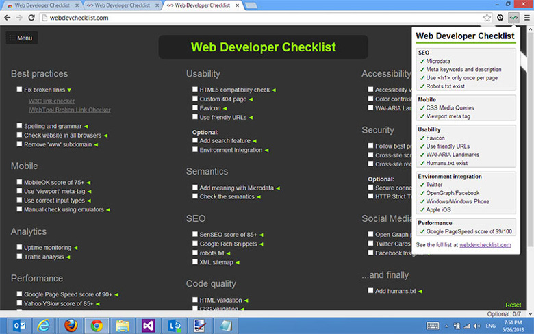 افزونه Web Developer checklist
